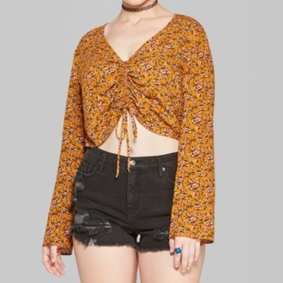 Wild Fable Tops - Wild Fable Floral Ruched Front Blouse